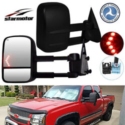 Tow Mirror Power Heated Red Chevron Signal Black Pair Set for GMC Pickup SUV New