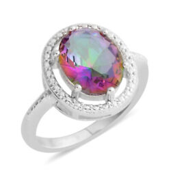 White Gold Plated Oval Mystic Topaz Cubic Zirconia Ring Jewelry Gift Cttw 3