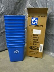 (12) Rubbermaid FG295573BLUE Desk Recycling Container PaperCansBottlesPlastic $96.00