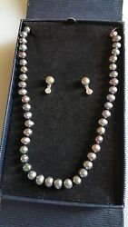 Baroque Peacock Pearl  Necklace & Earrings SET NIB Sterling Silver