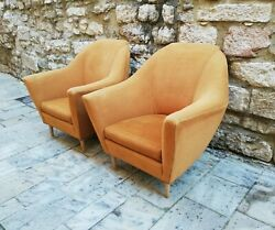 MID CENTURY PAIR LOUNGE CHAIRS & SOFA by ICO PARISI ARIBERTO COLOMBO ITALY 50s