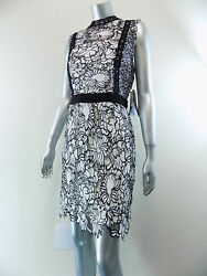 AQUA $168 WOMEN SIZE L BLACK WHITE FLORAL OFFICE PARTY LACE DRESS M14 $21.45