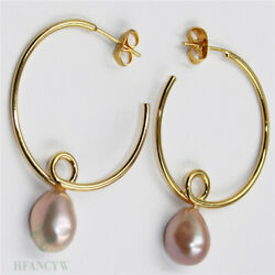 14-15mm Pink Baroque Pearl Earrings 18k hook Fashion Party Gift Cultured Women
