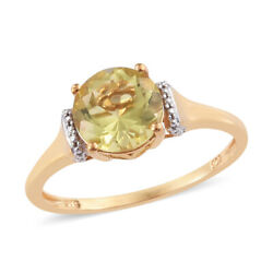 14K Yellow Gold Plated Silver Solitaire Ring Round Lemon Quartz Size 9 Cttw 1.9