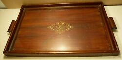 EDWARDIAN STYLE DESIGN MAHOGANY AND GLASS BUTLER'S SERVING TRAY COLLECTIBLE