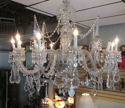 ANTIQUE VINTAGE EUROPEAN CRYSTAL CHANDELIER