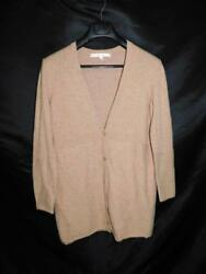 Nordstrom Collection L Light Brown Cashmere Cardigan Sweater Empire V Neck Tunic