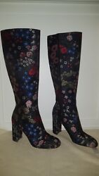 NWB VALENTINO CAMU FLORAL GARDEN BROCADE KNEE BOOTS SIZE 39 8.5