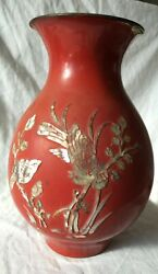 Red antique vase with a bird and flowers from nautical shell – Handmade very old