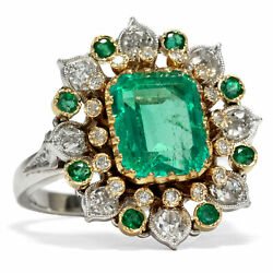 Vintage Ring with 350 CT Emerald & 120 Diamonds in 585 White Gold Brilliant