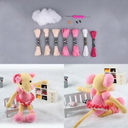 Handmade Cartoon Pink Mouse Doll Toy Crochet Toolkit for Beginners DIY Craft $10.93