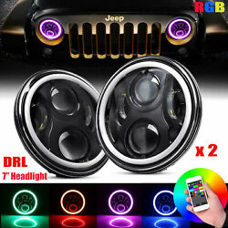 Pair 7'' Headlight LED RGB Halo Projector Angel DRL for Jeep Wrangler JK TJ LJ