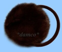 NEW GENUINE DARK RANCH MINK FUR EARMUFFS one fits all $35.95