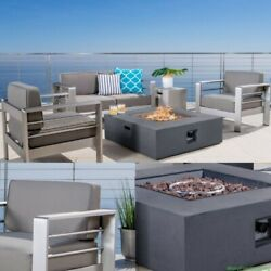 Outdoor Chat Set with Fire Pit Table Rust Free Aluminum Frame Patio Garden Home
