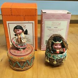 2 Friends of the Feather Figurines Covered Boxes Girl with Flute Mom amp; Papoose $39.95