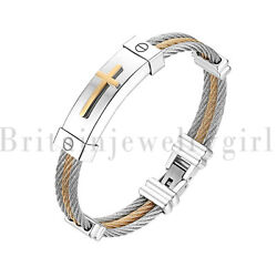 Religious Cross in Good Faith Stainless Steel Cable Wire Bracelet for Men Women $11.30