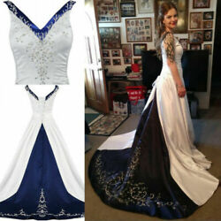 Plus Gothic Wedding Dresses A Line Embroidery Formal Bridal Gowns V Neck Custom
