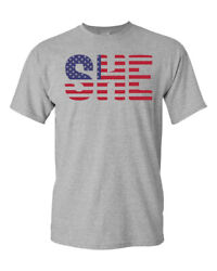 SHE American Flag Soccer Sublimation 6535 Sport Grey Ladies Tee Shirt 942