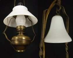 Antique Hanging Oil Lamp VICTORIAN vintage smoke bell milk glass shade BRASS $244.99