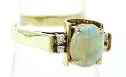 VINTAGE HANDMADE Magnificent Opal & Diamond & 14ct Yellow & White Gold Ring