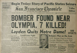 BOMBER FOUND OLYMPIA 7 DEAD UK WAR AXIS WAVELL LIBYA NOTRE DAME February 4 1941 $37.50