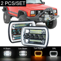 Pair 120W 5x7'' 7x6'' LED Headlight Hi-Lo Beam DRL For Jeep Cherokee XJ YJ