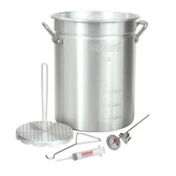 Turkey Fryer w Rack Kit Aluminum Stockpot Lid 30Qt Poultry Cook Kitchen Holiday