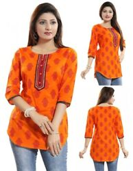 Top Women Indian Short Orange Cotton Printed Kurti Tunic Kurta Shirt Dress MM205