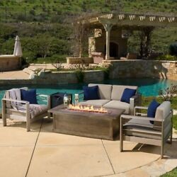 Patio Pool Area Seating Furniture Set Chat Fire Pit Table Water And Rust Resist