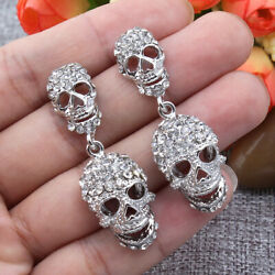 Halloween Skull Skeleton Dangle Earrings Pierced Austrian Crystal Silver Tone