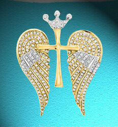 4.44ct NATURAL ROUND DIAMOND 14K SOLID YELLOW GOLD ANGEL CROSS BROOCH PENDANT