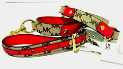 MICHAEL KORS Red & Tan MK Print Leather w Gold Accents Upcycled Dog Leash NWT