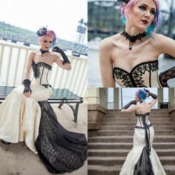 Gothic Wedding Dresses Sweetheart Black Applique Satin Mermaid Bridal Gowns 2021