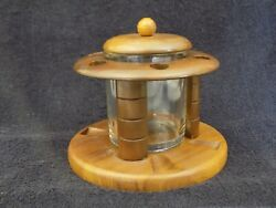 Vintage ~ Duk-It ~ Solid American Walnut 6 Tobacco Pipe Rack With Glass Humidor