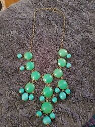 Stunning Green Stone Gold Tone Statement Necklace Adjustable Length