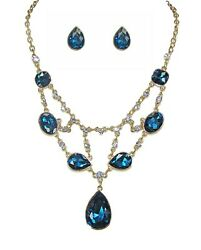 Blue Crystal and Chain Bib Statement Necklace and Earrings Jewelry Set NEW $9.99