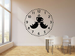 Vinyl Wall Decal Clock Birds Time To Drink Tea Kitchen Decor Stickers g744 $29.99