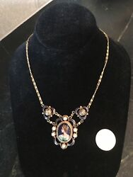 Exquisite 14 Karat Yellow Gold And Enamel Portrait Necklace appraised for $5000