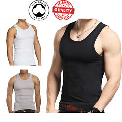 3 Pc Men 100% Cotton A Shirt Tank Top Ribbed Undershirt Wife Beater Black Muscle