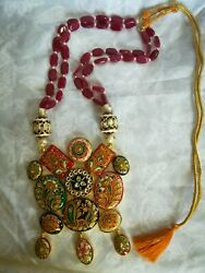 Hand Paint Pendant with gemstone necklace US Seller
