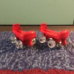 Build-A-Bear Workshop Accessory Pair Of Roller Skates Red w Clear Wheels