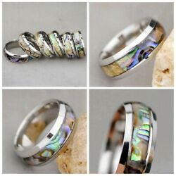 Titanium Steel Silver Mother of Pearl Abalone Sea Shell New Fashion Ring Size: 9