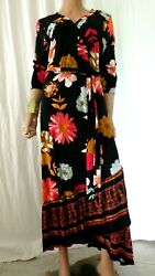 NWT MLLE GABRIELLE PLUS 2X BLACK FLORAL FIT & FLARE STRETCH MAXI DRESS BUST 50 $18.00