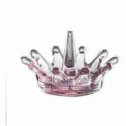 Pink Crown Ring Holder Dia 4.3inch Glass Jewelry Tray Home