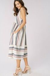 100% Cotton Summer Midi Dress with Pockets Light versatile for any occasion NWT $49.99