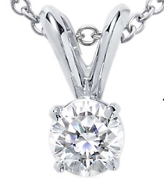 Diamond Solitaire Pendant with White Gold 1ct tw