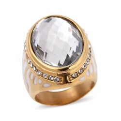 Simulated Diamond Stainless Steel Oval White Glass White Crystal Ring Size6