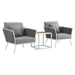 Stance 3 Piece Outdoor Patio Aluminum Sectional Sofa Set White Gray $1660.90