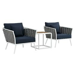 Stance 3 Piece Outdoor Patio Aluminum Sectional Sofa Set White Navy $1633.60