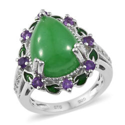 Promise Ring 925 Sterling Silver Platinum Plated Dyed Color Jade Amethyst Ct 8.3